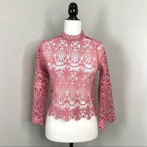Fashion Nova Pink Crochet Floral Mock Neck Blouse